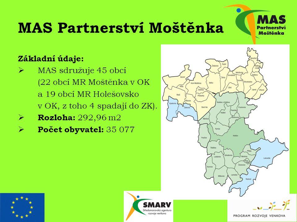 MAS Partnerství Moštěnka Základní údaje:  MAS sdružuje 45 obcí (22 obcí MR Moštěnka v OK a 19 obcí MR Holešovsko v OK, z toho 4 spadají do ZK).