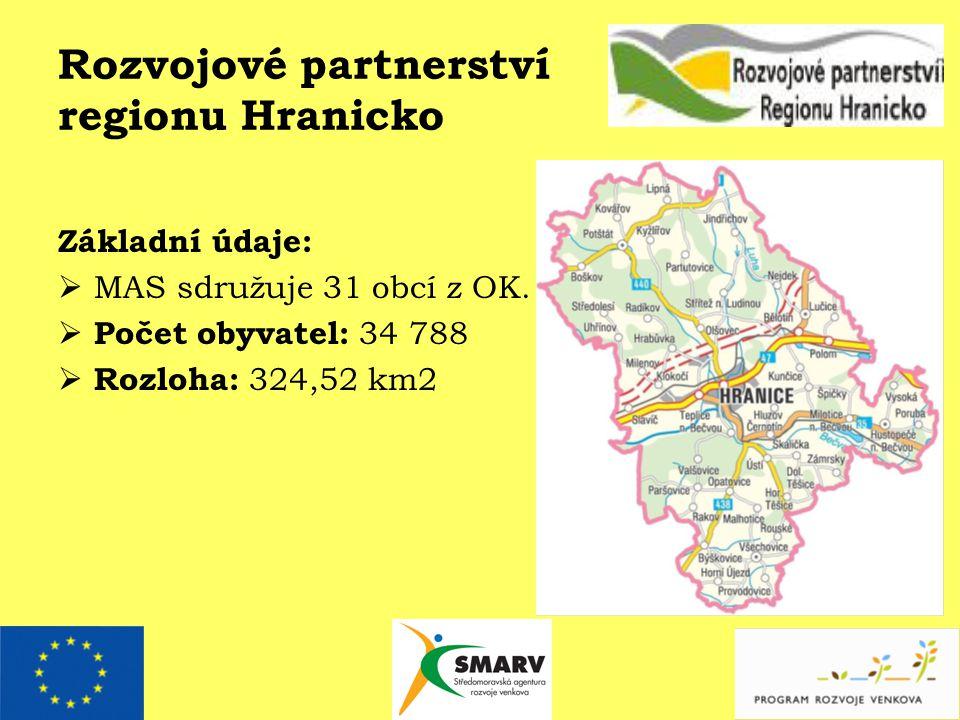 Rozvojové partnerství regionu Hranicko Základní údaje:  MAS sdružuje 31 obcí z OK.