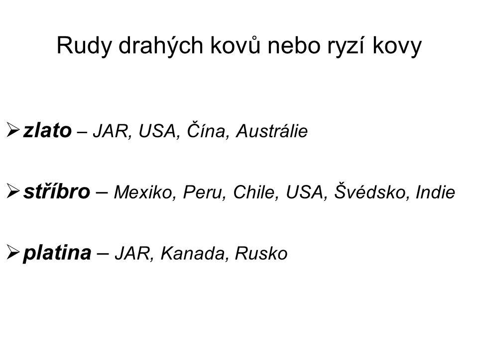 Rudy drahých kovů nebo ryzí kovy  zlato – JAR, USA, Čína, Austrálie  stříbro – Mexiko, Peru, Chile, USA, Švédsko, Indie  platina – JAR, Kanada, Rusko