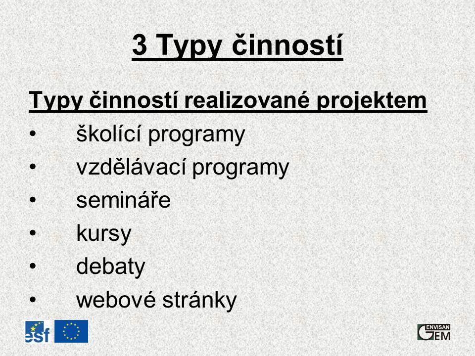 3 Typy činností Typy činností realizované projektem školící programy vzdělávací programy semináře kursy debaty webové stránky