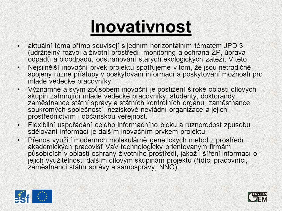 Inovativnost aktuální téma přímo souvisejí s jedním horizontálním tématem JPD 3 (udržitelný rozvoj a životní prostředí -monitoring a ochrana ŽP, úprava odpadů a bioodpadů, odstraňování starých ekologických zátěží.