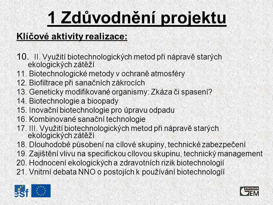 1 Zdůvodnění projektu Klíčové aktivity realizace: 10.