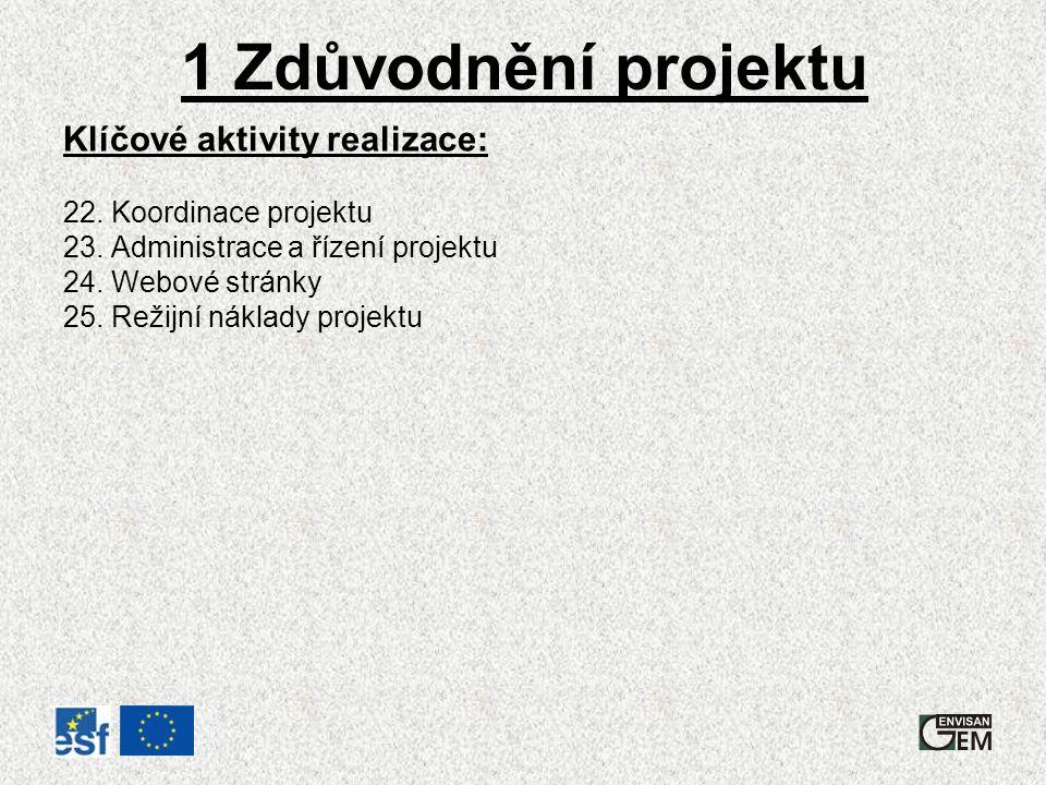 1 Zdůvodnění projektu Klíčové aktivity realizace: 22.