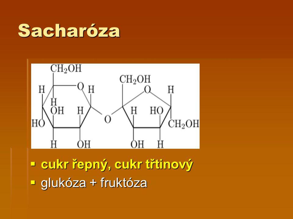 Sacharóza  cukr řepný, cukr třtinový  glukóza + fruktóza