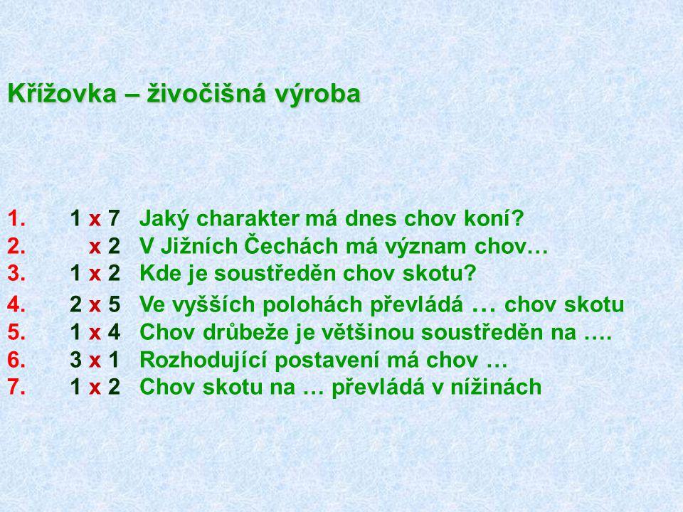 Křížovka – živočišná výroba 1. 1 x 7 Jaký charakter má dnes chov koní? 2. x 2 V Jižních Čechách má význam chov… 3. 1 x 2 Kde je soustředěn chov skotu?