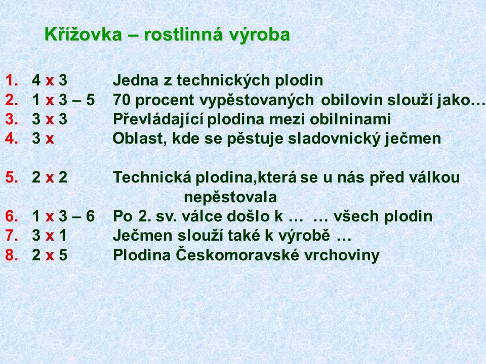 Křížovka – rostlinná výroba 1.4 x 3 Jedna z technických plodin 2.