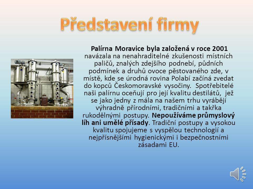 Palírna Moravice byla založená v roce 2001 navázala na nenahraditelné zkušenosti místních paličů, znalých zdejšího podnebí, půdních podmínek a druhů ovoce pěstovaného zde, v místě, kde se úrodná rovina Polabí začíná zvedat do kopců Českomoravské vysočiny.