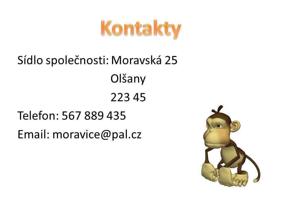 Sídlo společnosti: Moravská 25 Olšany 223 45 Telefon: 567 889 435 Email: moravice@pal.cz