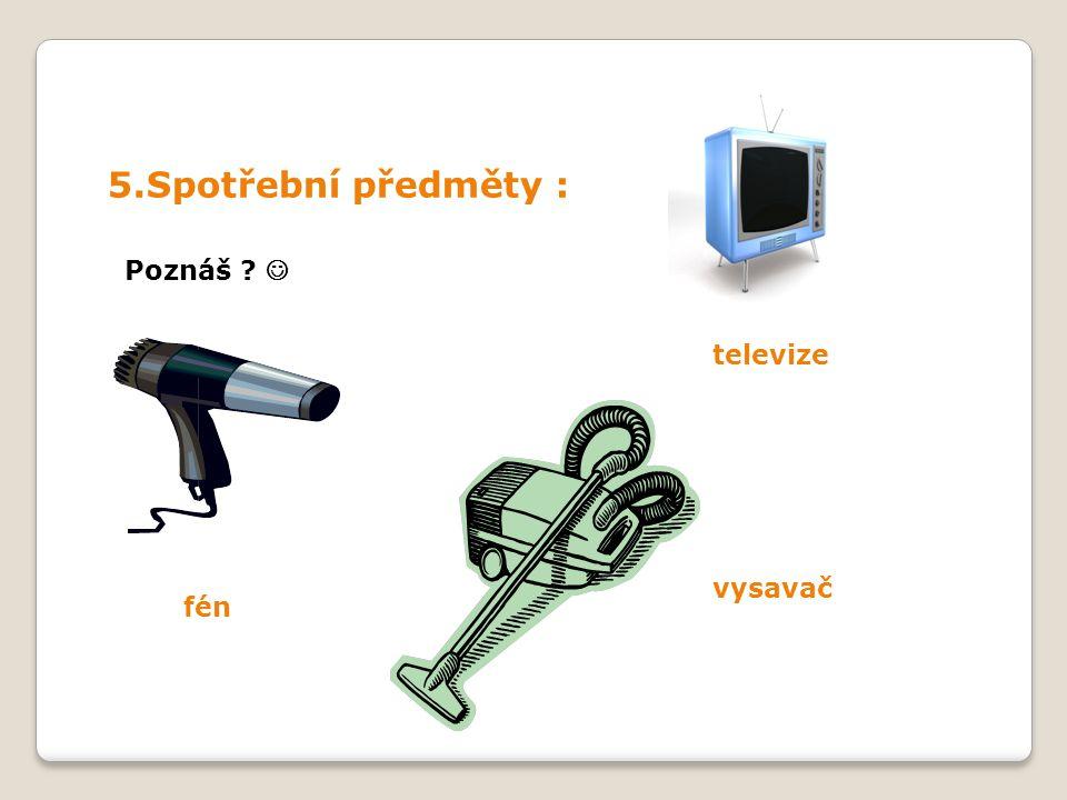 5.Spotřební předměty : Poznáš televize fén vysavač