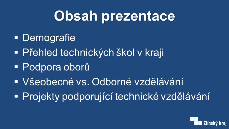 Obsah prezentace  Demografie  Přehled technických škol v kraji  Podpora oborů  Všeobecné vs.