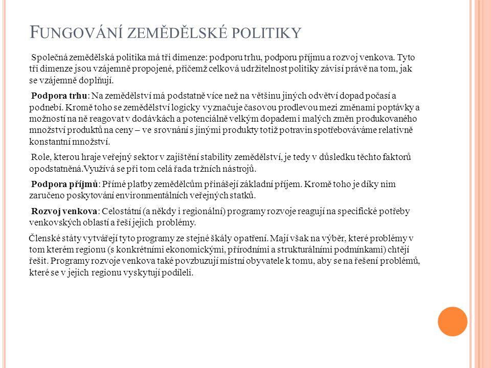 F UNGOVÁNÍ ZEMĚDĚLSKÉ POLITIKY Společná zemědělská politika má tři dimenze: podporu trhu, podporu příjmu a rozvoj venkova.