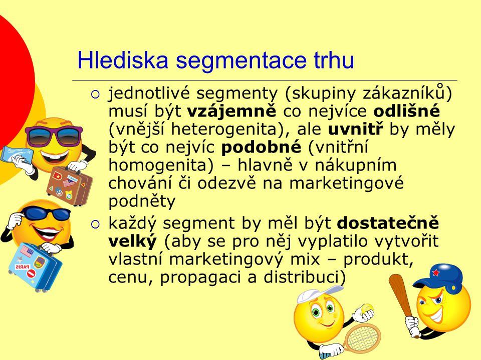 Hlediska segmentace trhu  jednotlivé segmenty (skupiny zákazníků) musí být vzájemně co nejvíce odlišné (vnější heterogenita), ale uvnitř by měly být co nejvíc podobné (vnitřní homogenita) – hlavně v nákupním chování či odezvě na marketingové podněty  každý segment by měl být dostatečně velký (aby se pro něj vyplatilo vytvořit vlastní marketingový mix – produkt, cenu, propagaci a distribuci)