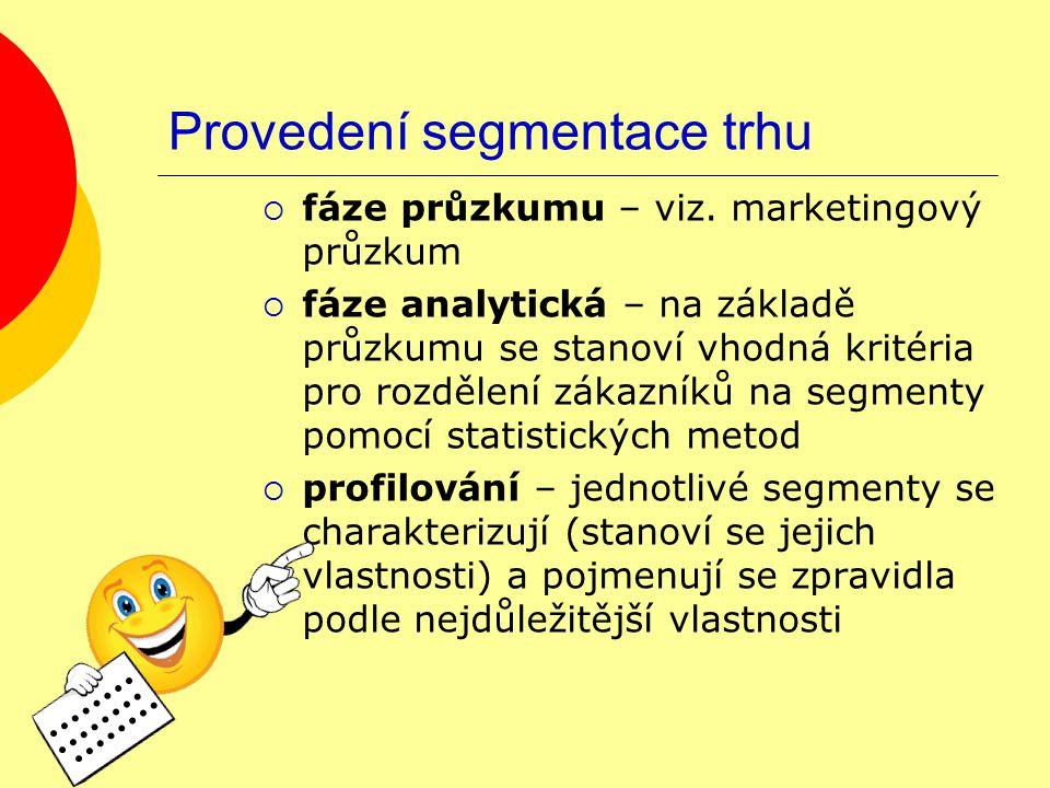 Provedení segmentace trhu  fáze průzkumu – viz.