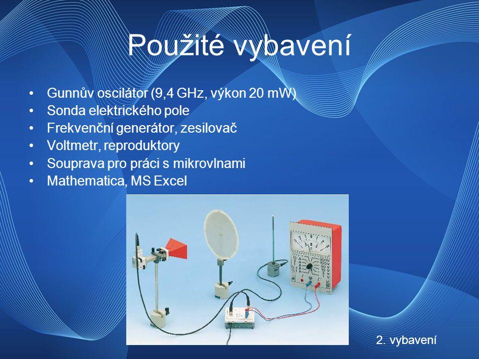 Použité vybavení Gunnův oscilátor (9,4 GHz, výkon 20 mW) Sonda elektrického pole Frekvenční generátor, zesilovač Voltmetr, reproduktory Souprava pro práci s mikrovlnami Mathematica, MS Excel 2.