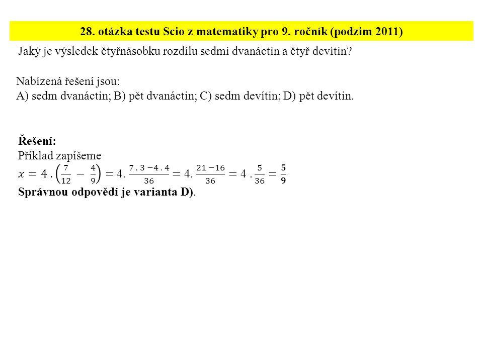 Jaký je výsledek čtyřnásobku rozdílu sedmi dvanáctin a čtyř devítin.