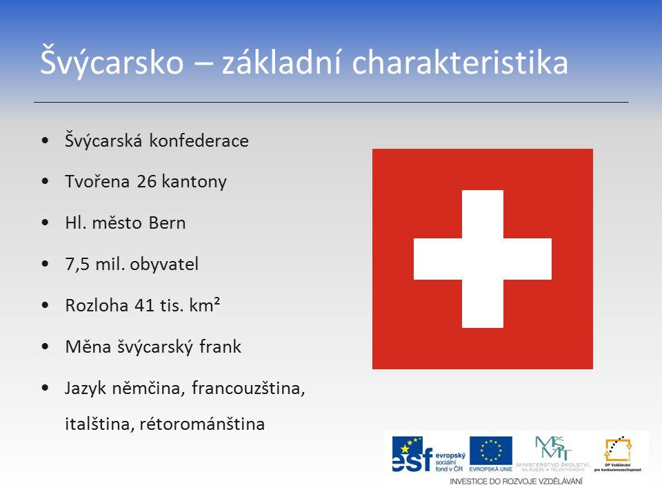 Švýcarsko – základní charakteristika Švýcarská konfederace Tvořena 26 kantony Hl.