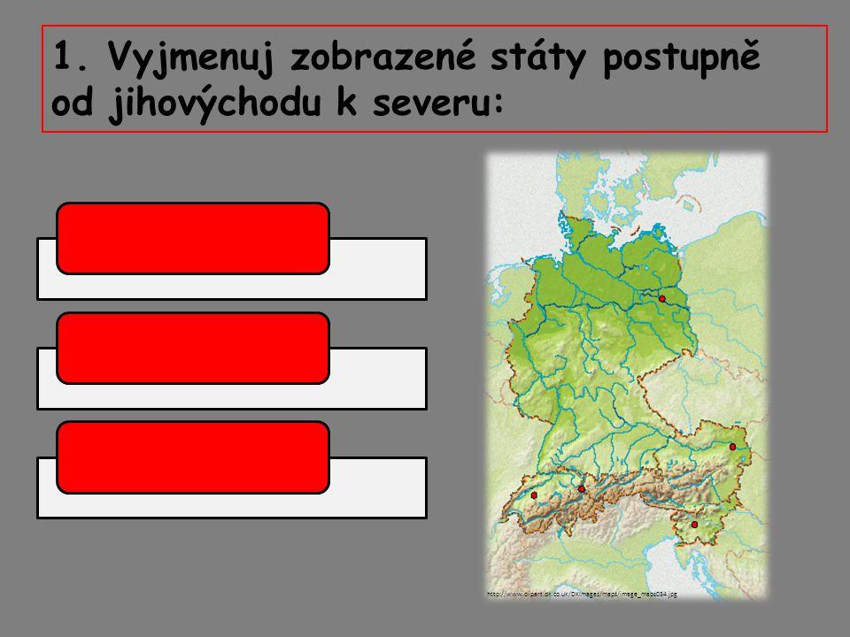 1. Vyjmenuj zobrazené státy postupně od jihovýchodu k severu: http://www.clipart.dk.co.uk/DKImages/maps/image_maps034.jpg