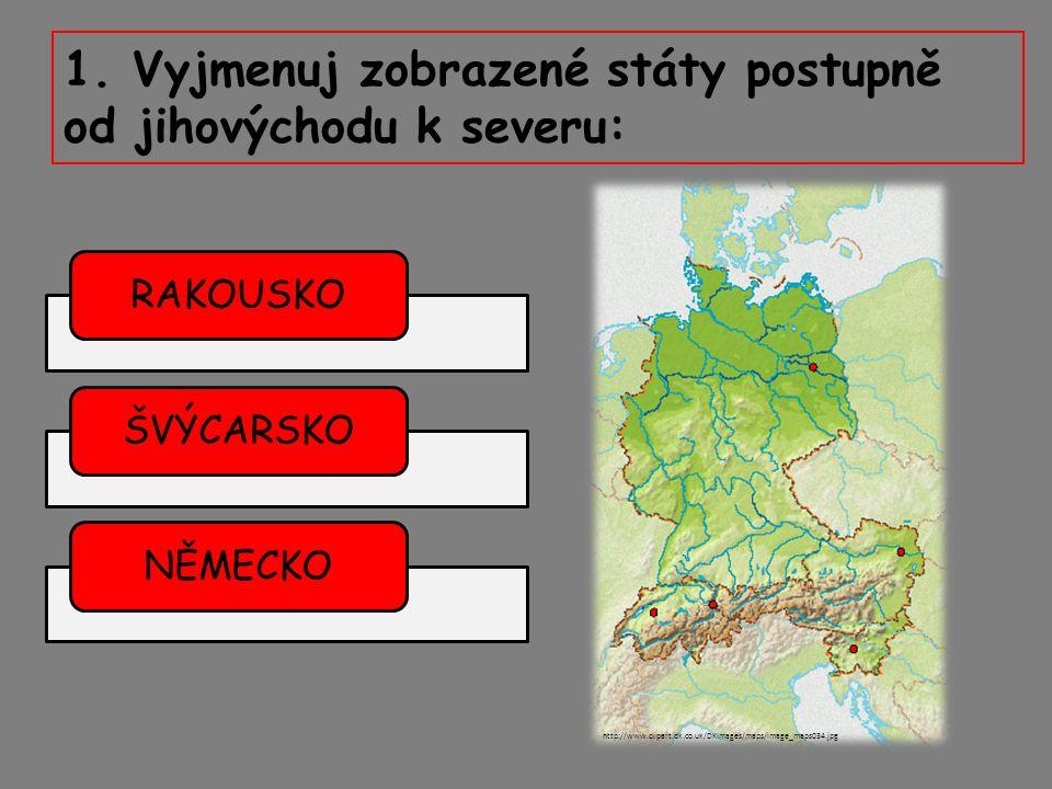 1. Vyjmenuj zobrazené státy postupně od jihovýchodu k severu: RAKOUSKOŠVÝCARSKONĚMECKO http://www.clipart.dk.co.uk/DKImages/maps/image_maps034.jpg