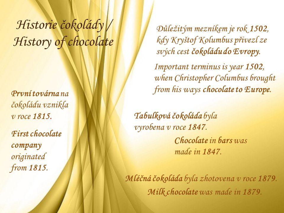 Historie čokolády / History of chocolate Důležitým mezníkem je rok 1502, kdy Kryštof Kolumbus přivezl ze svých cest čokoládu do Evropy. Tabulková čoko