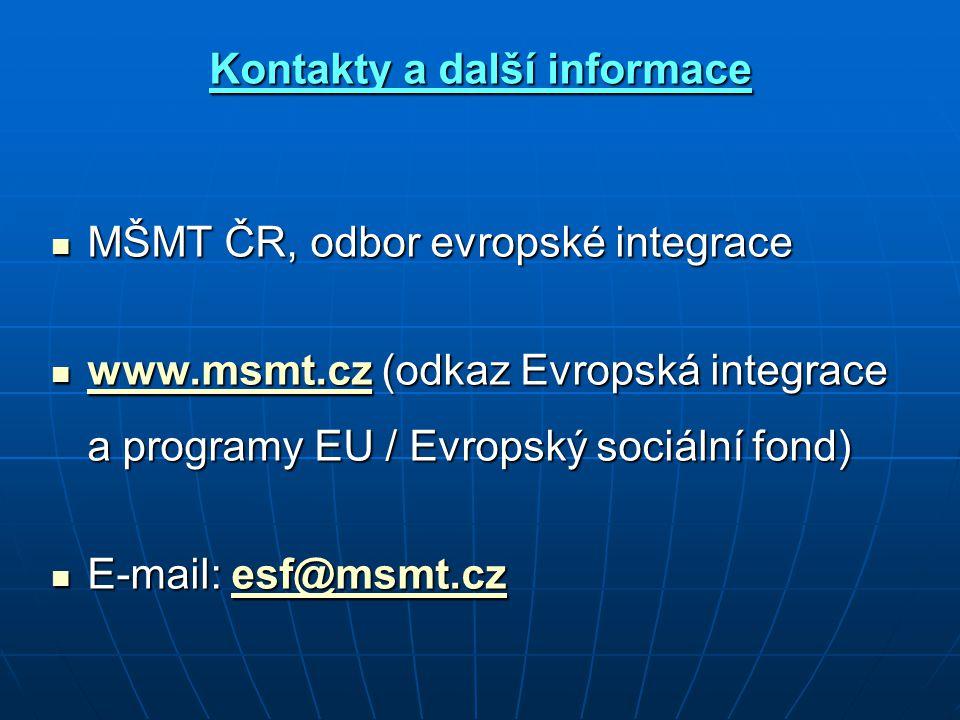 Kontakty a další informace MŠMT ČR, odbor evropské integrace MŠMT ČR, odbor evropské integrace www.msmt.cz (odkaz Evropská integrace a programy EU / Evropský sociální fond) www.msmt.cz (odkaz Evropská integrace a programy EU / Evropský sociální fond) www.msmt.cz E-mail: esf@msmt.cz E-mail: esf@msmt.czesf@msmt.cz