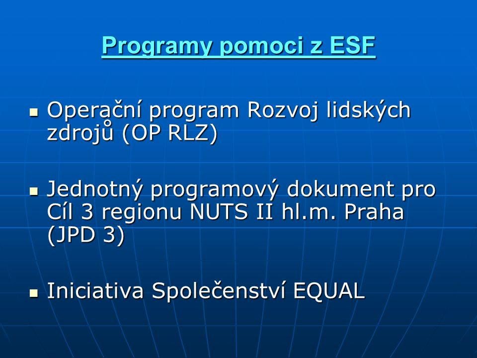 Programy pomoci z ESF Operační program Rozvoj lidských zdrojů (OP RLZ) Operační program Rozvoj lidských zdrojů (OP RLZ) Jednotný programový dokument pro Cíl 3 regionu NUTS II hl.m.