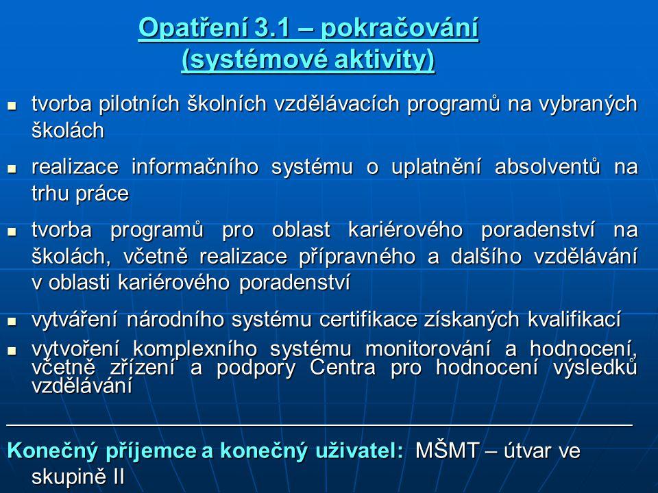 Opatření 3.1 – pokračování (systémové aktivity) tvorba pilotních školních vzdělávacích programů na vybraných školách tvorba pilotních školních vzdělávacích programů na vybraných školách realizace informačního systému o uplatnění absolventů na trhu práce realizace informačního systému o uplatnění absolventů na trhu práce tvorba programů pro oblast kariérového poradenství na školách, včetně realizace přípravného a dalšího vzdělávání v oblasti kariérového poradenství tvorba programů pro oblast kariérového poradenství na školách, včetně realizace přípravného a dalšího vzdělávání v oblasti kariérového poradenství vytváření národního systému certifikace získaných kvalifikací vytváření národního systému certifikace získaných kvalifikací vytvoření komplexního systému monitorování a hodnocení, včetně zřízení a podpory Centra pro hodnocení výsledků vzdělávání vytvoření komplexního systému monitorování a hodnocení, včetně zřízení a podpory Centra pro hodnocení výsledků vzdělávání___________________________________________________ Konečný příjemce a konečný uživatel: MŠMT – útvar ve skupině II