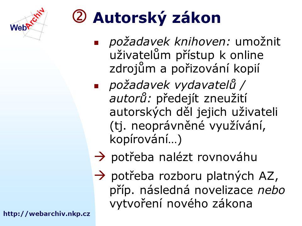 http://webarchiv.nkp.cz  Autorský zákon požadavek knihoven: umožnit uživatelům přístup k online zdrojům a pořizování kopií požadavek vydavatelů / autorů: předejít zneužití autorských děl jejich uživateli (tj.