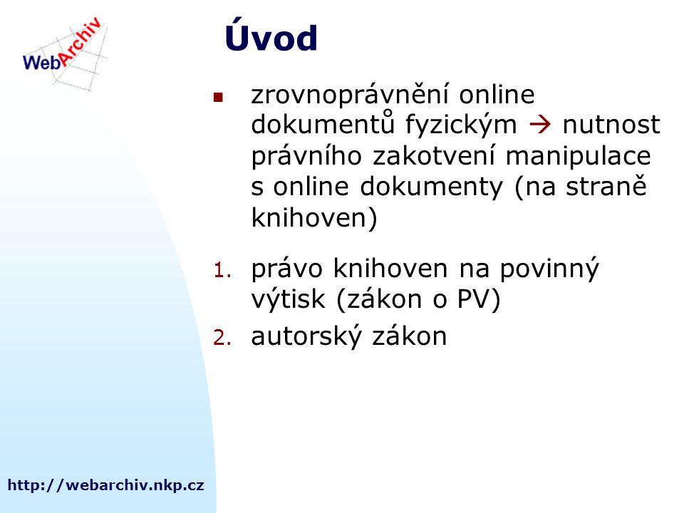 http://webarchiv.nkp.cz Úvod zrovnoprávnění online dokumentů fyzickým  nutnost právního zakotvení manipulace s online dokumenty (na straně knihoven) 1.
