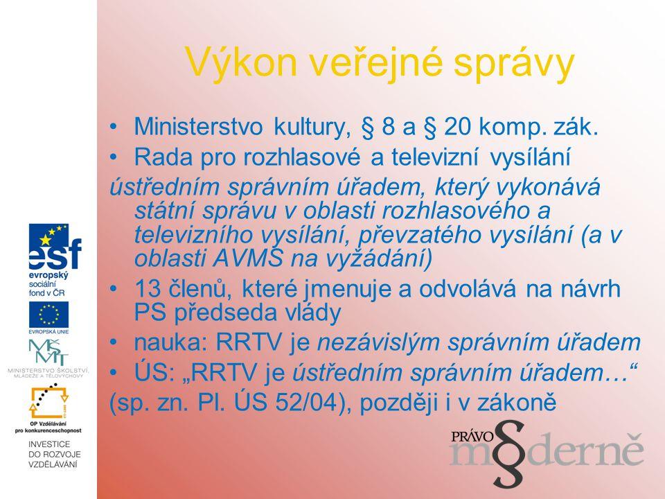 Výkon veřejné správy Ministerstvo kultury, § 8 a § 20 komp.