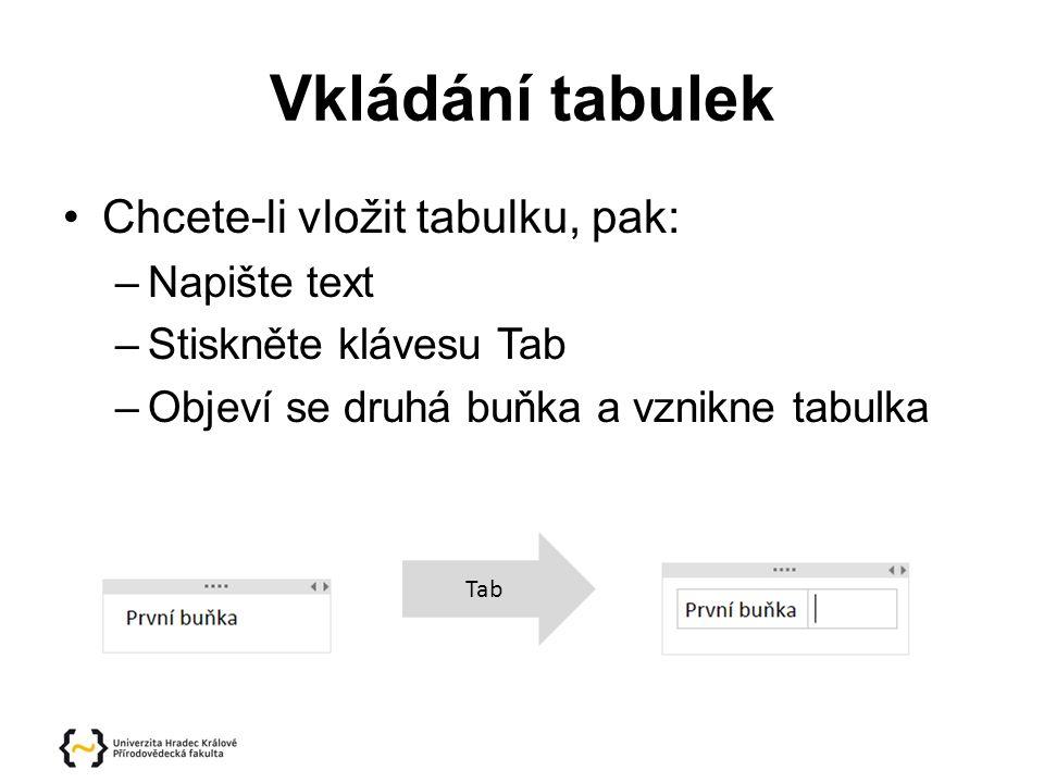 Vkládání tabulek Chcete-li vložit tabulku, pak: –Napište text –Stiskněte klávesu Tab –Objeví se druhá buňka a vznikne tabulka Tab