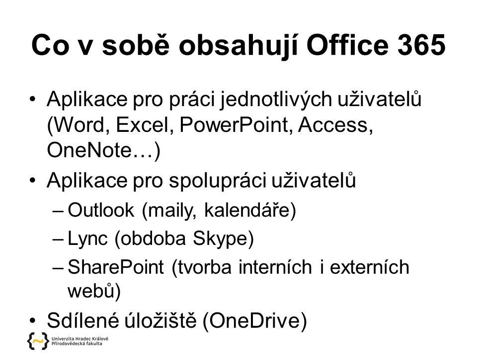 Co v sobě obsahují Office 365 Aplikace pro práci jednotlivých uživatelů (Word, Excel, PowerPoint, Access, OneNote…) Aplikace pro spolupráci uživatelů –Outlook (maily, kalendáře) –Lync (obdoba Skype) –SharePoint (tvorba interních i externích webů) Sdílené úložiště (OneDrive)