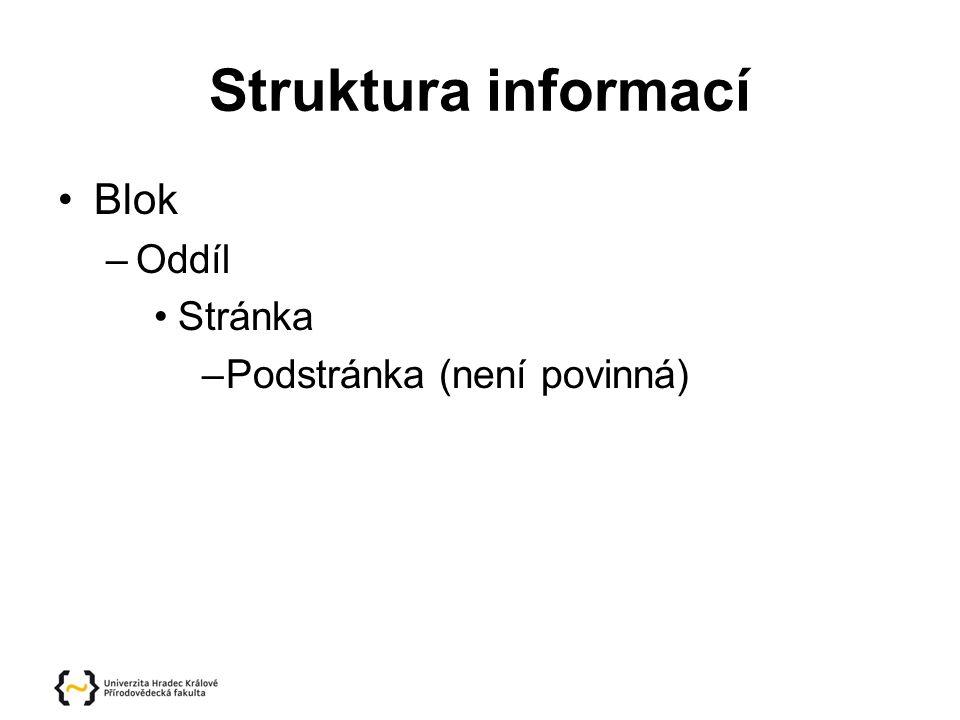 Struktura informací Blok –Oddíl Stránka –Podstránka (není povinná)