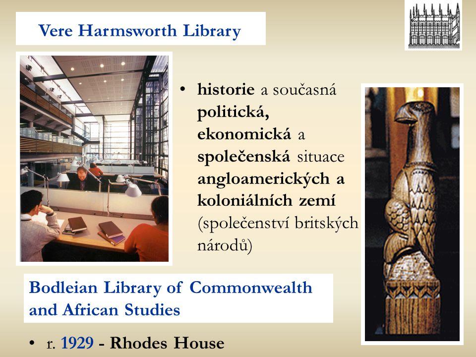 Vere Harmsworth Library Bodleian Library of Commonwealth and African Studies historie a současná politická, ekonomická a společenská situace angloamer