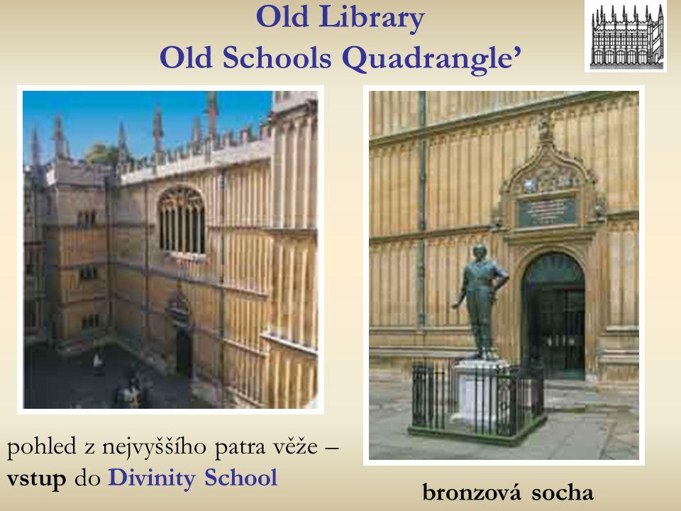 Old Library Old Schools Quadrangle' bronzová socha pohled z nejvyššího patra věže – vstup do Divinity School