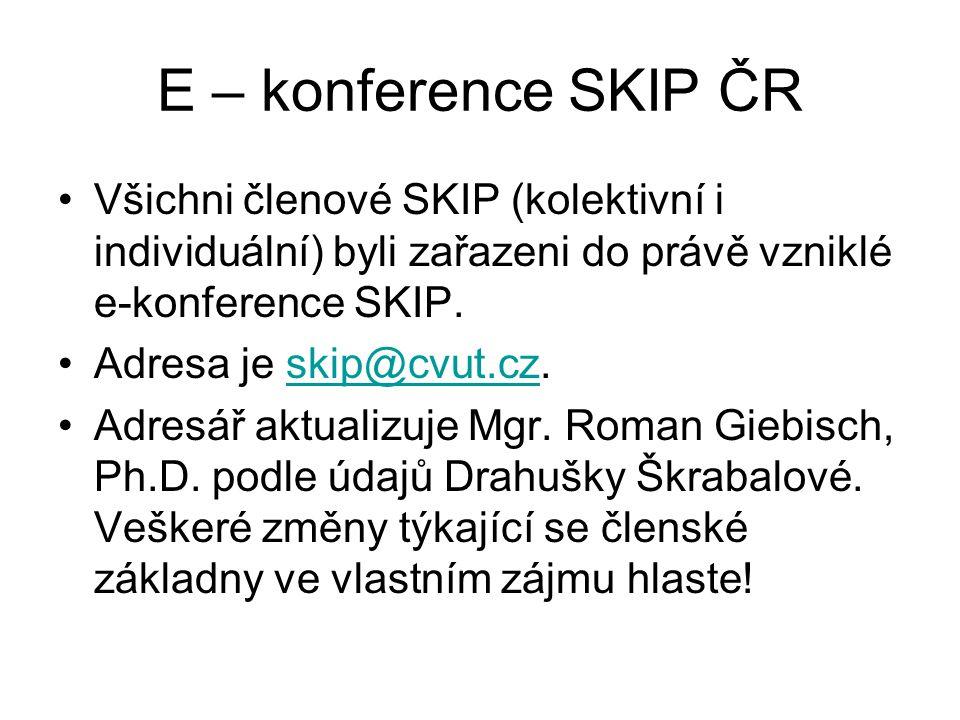 E – konference SKIP ČR Všichni členové SKIP (kolektivní i individuální) byli zařazeni do právě vzniklé e-konference SKIP.
