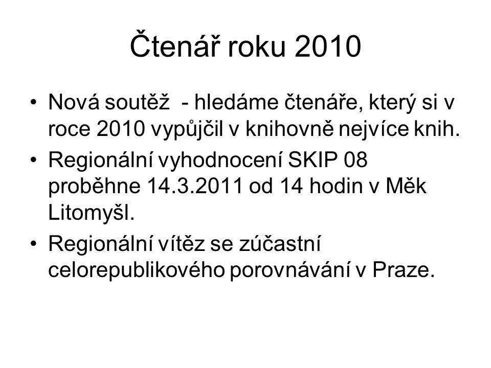 Čtenář roku 2010 Nová soutěž - hledáme čtenáře, který si v roce 2010 vypůjčil v knihovně nejvíce knih.
