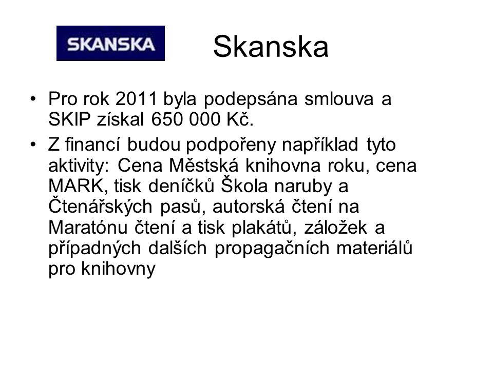 Skanska Pro rok 2011 byla podepsána smlouva a SKIP získal 650 000 Kč.