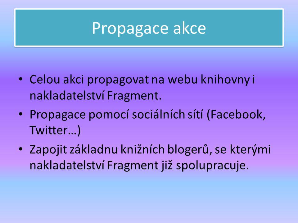 Propagace akce Celou akci propagovat na webu knihovny i nakladatelství Fragment. Propagace pomocí sociálních sítí (Facebook, Twitter…) Zapojit základn