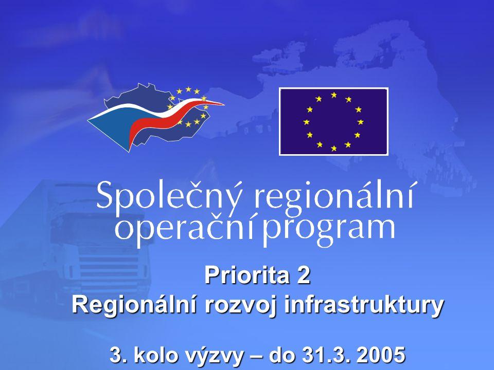 Priorita 2 Regionální rozvoj infrastruktury 3. kolo výzvy – do 31.3. 2005