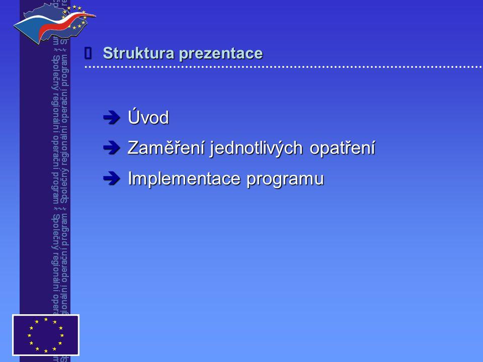 Struktura prezentace   Úvod  Zaměření jednotlivých opatření  Implementace programu