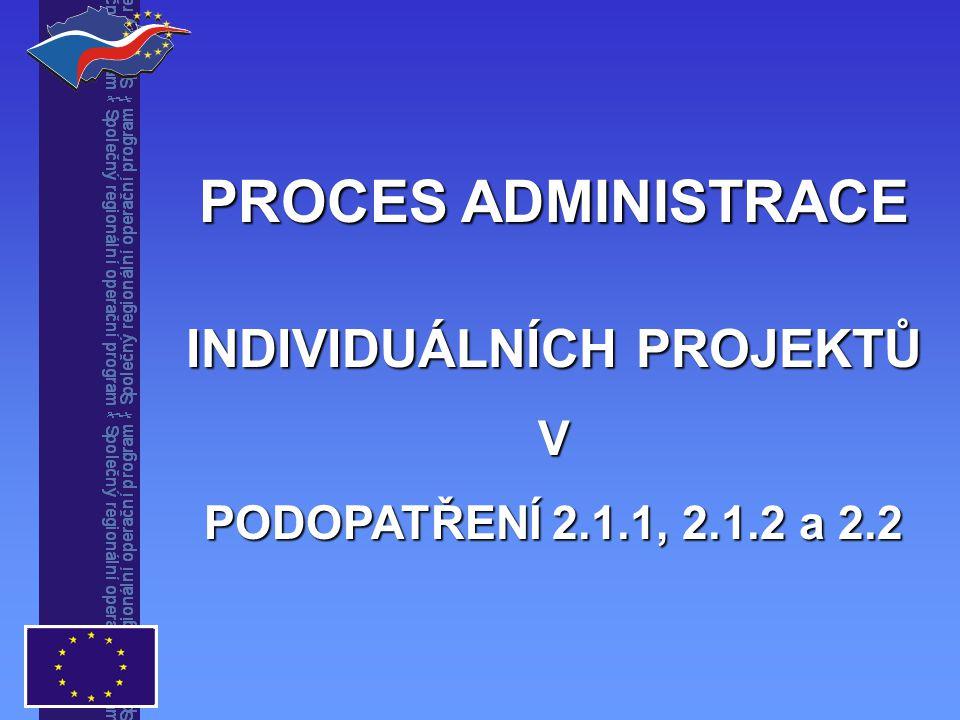 PROCES ADMINISTRACE INDIVIDUÁLNÍCH PROJEKTŮ V PODOPATŘENÍ 2.1.1, 2.1.2 a 2.2