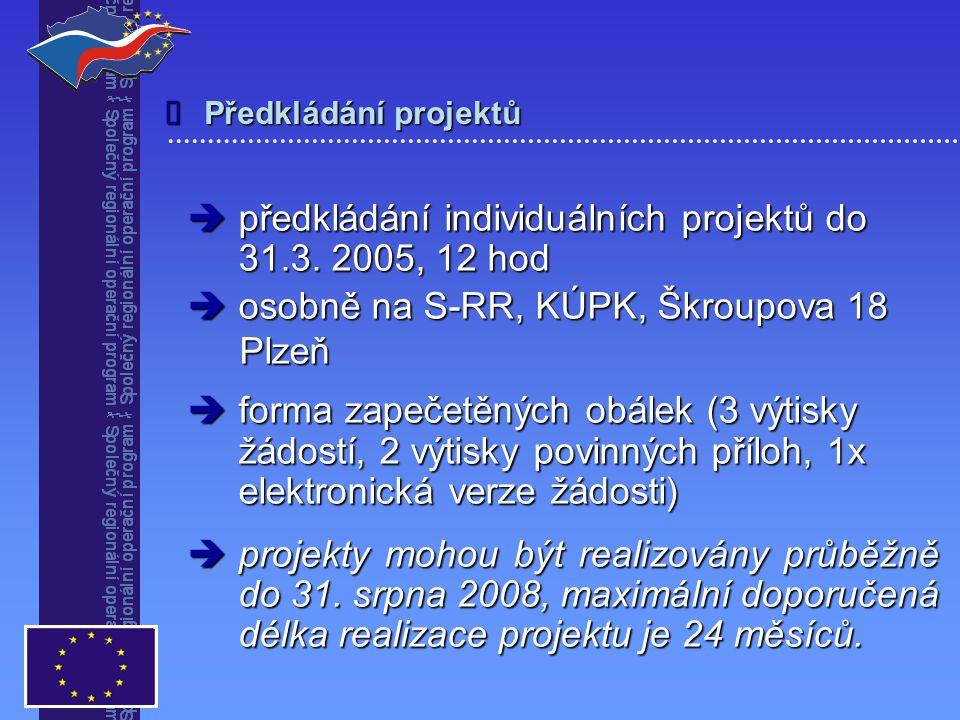 Předkládání projektů   předkládání individuálních projektů do 31.3.