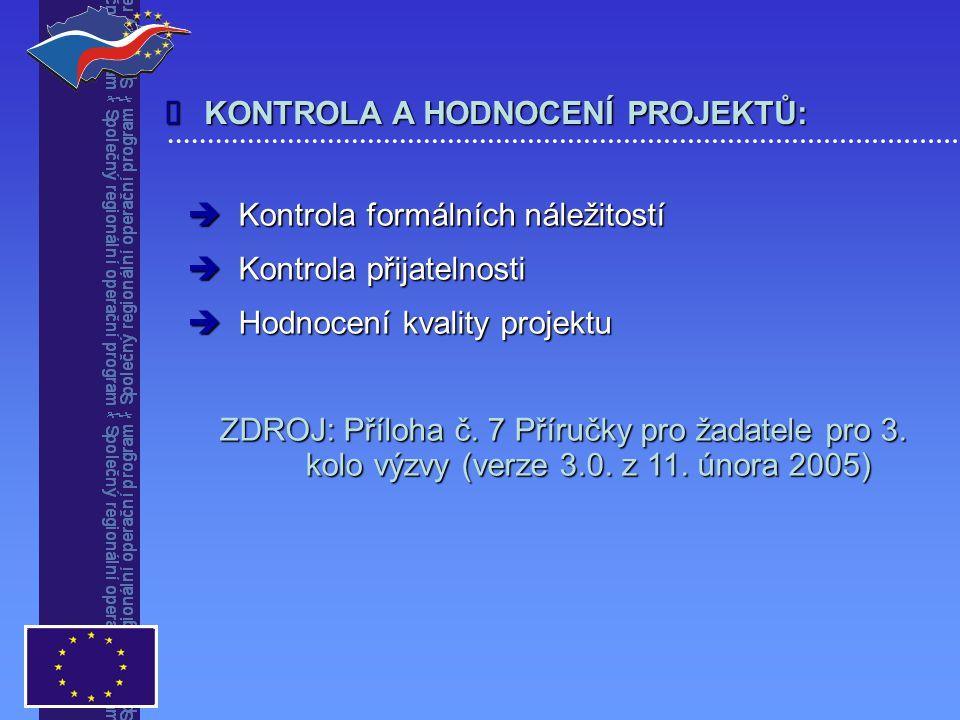 KONTROLA A HODNOCENÍ PROJEKTŮ:   Kontrola formálních náležitostí  Kontrola přijatelnosti  Hodnocení kvality projektu ZDROJ: Příloha č.