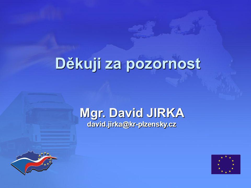 Děkuji za pozornost Mgr. David JIRKA david.jirka@kr-plzensky.cz