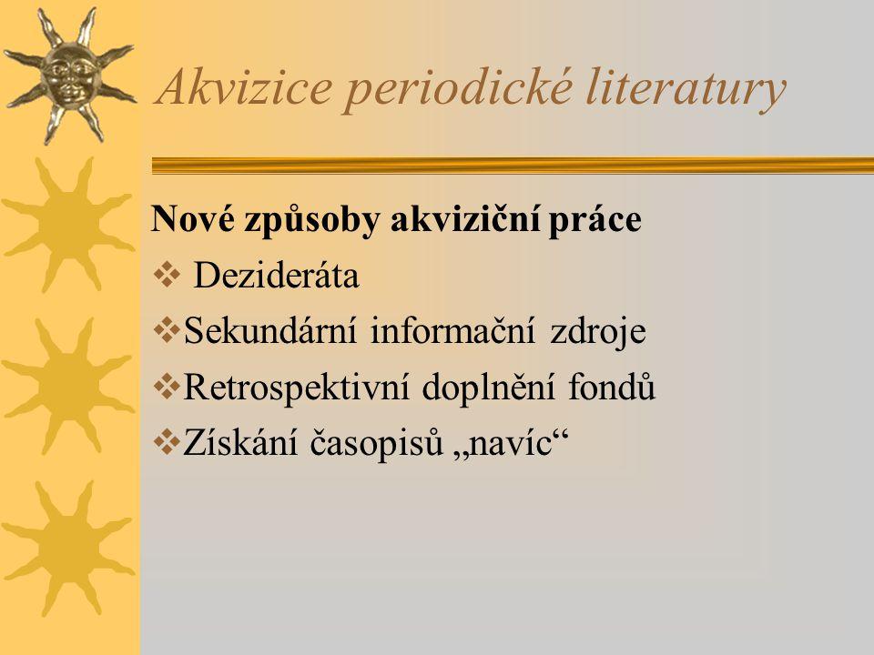 Akvizice periodické literatury Nové způsoby akviziční práce  Dezideráta  Sekundární informační zdroje  Retrospektivní doplnění fondů  Získání časo