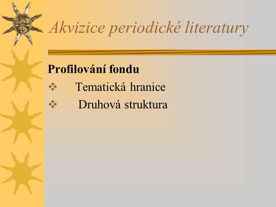 Akvizice periodické literatury Zjišťování dokumentů  Ulrich´s International Periodicals Directory http://www.ulrichsweb.com/ulrichsweb  ISSN http://www.issn.org http://www.issn.cz