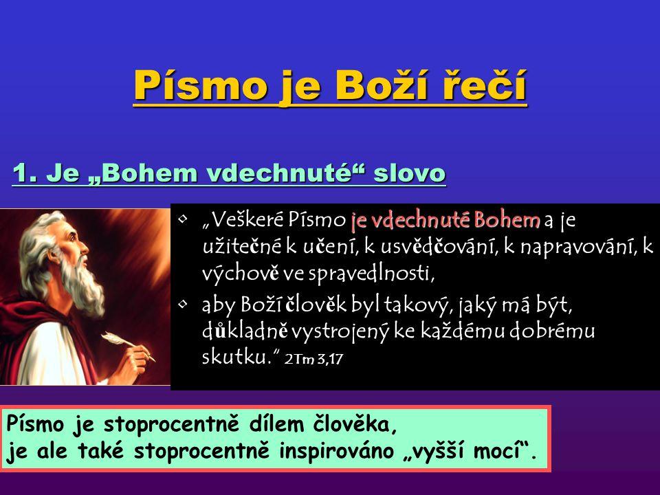 """Písmo je Boží řečí je vdechnuté Bohem""""Veškeré Písmo je vdechnuté Bohem a je užite č né k u č ení, k usv ě d č ování, k napravování, k výchov ě ve spravedlnosti, aby Boží č lov ě k byl takový, jaký má být, d ů kladn ě vystrojený ke každému dobrému skutku. 2Tm 3,17 1."""
