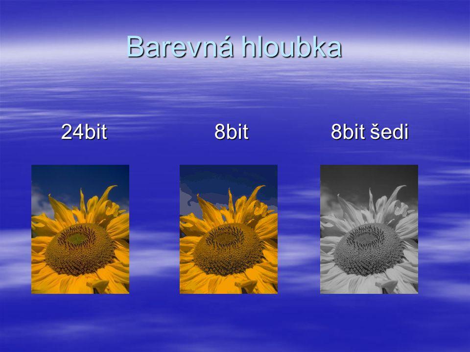 Barevná hloubka 24bit 8bit 8bit šedi 24bit 8bit 8bit šedi