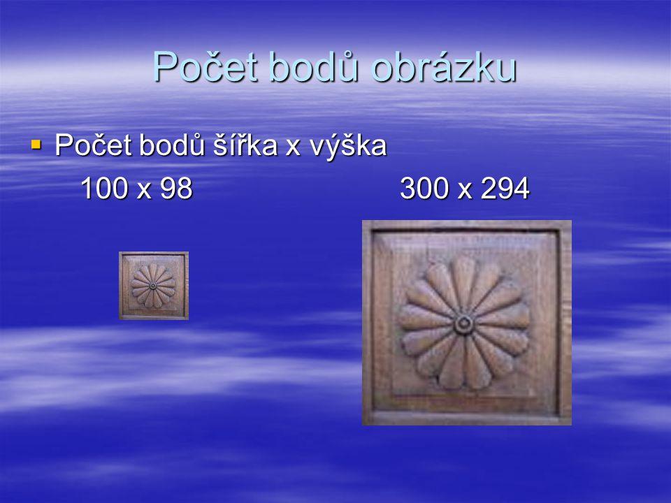 Počet bodů obrázku  Počet bodů šířka x výška 100 x 98 300 x 294 100 x 98 300 x 294