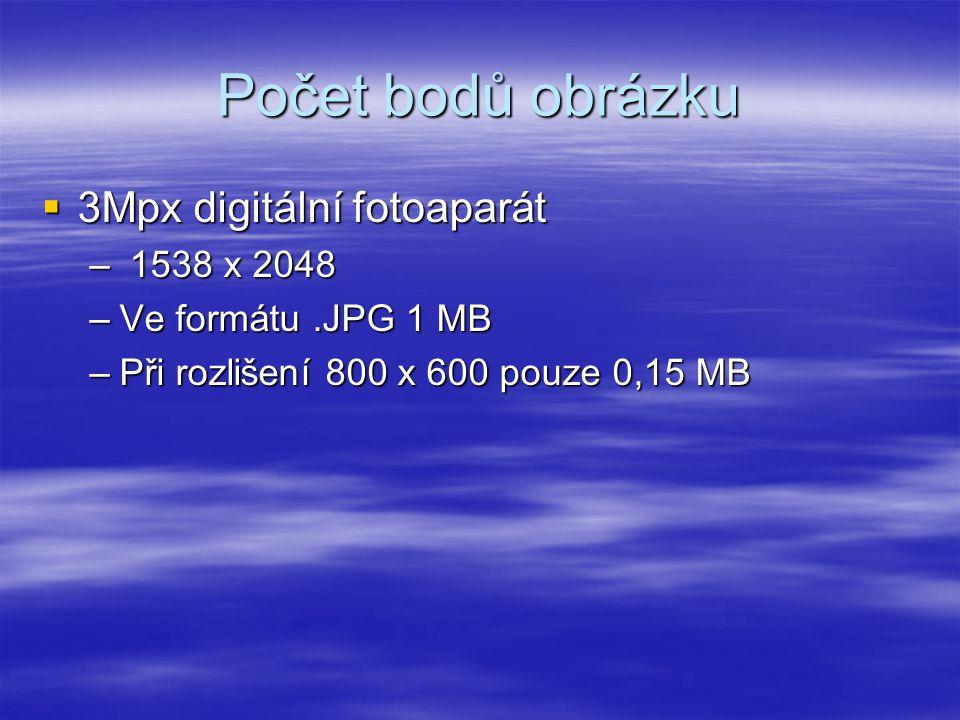 Počet bodů obrázku  3Mpx digitální fotoaparát – 1538 x 2048 –Ve formátu.JPG 1 MB –Při rozlišení 800 x 600 pouze 0,15 MB